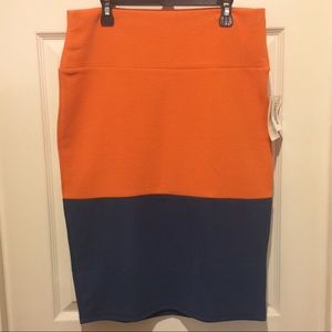 LuLaRoe Cassie Pencil Skirt Women's M Orange Blue